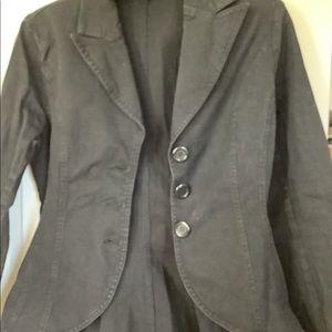Odds N Evens Black Flaired Denim Blazer Jacket